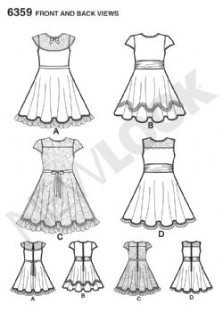 6359 New Look Pattern: Girls' Party or Special Occasion Dresses
